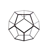 "Geometric Glass Terrarium, Dodecahedron, Black Frame, One of the Facet Opens - Width: 9"", Height: 7.5"""