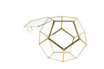 "Geometric Glass Terrarium, Dodecahedron, Gold Frame, One of the Facet Opens - Width: 11"", Height: 9"""
