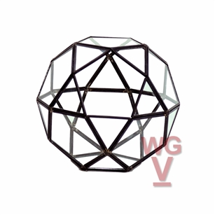 "Geometric Glass Terrarium, Icosidodecahedron Complicated Multi-Facet, Black  Frame - Width: 7.5"", Height: 7"""