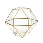 "Geometric Glass Terrarium, Cuboctahedron Multi-Facet Ball, Gold Frame - Width: 7.5"", Height: 6"""