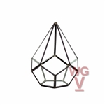 "Geometric Glass Terrarium, Undecahedron Tear Drop Sitting, Black Frame - Width: 6"", Height: 7.5"""