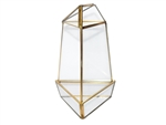 "Geometric Glass Terrarium, Medium Triangular Oblisk, Gold Frame - Width Approx: 4"", Height: 8"""