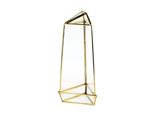 "Geometric Glass Terrarium, Tall Triangular Oblisk, Gold Frame - Width Approx: 4"", Height: 11"""
