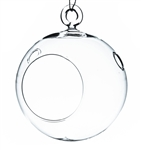 "Clear Round Hanging Votive Candle Holder / Vase with Round base. Width: 4"". Height: 5"""
