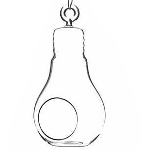 "Clear Bulb Hanging Glass Terrarium/Candle Holder. Width: 3"". Height: 6"""