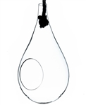 "Large Clear Rope Hanging Terrarium/Vase; Width: 7.5"". Height: 15"". Rope: 28"""