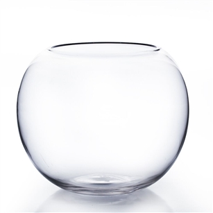 "Clear Bubble Bowl Vase. Diameter: 8"". Height: 6"""
