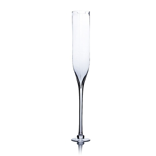 "Clear Champagne Vase (Rounded Square Opening). Open: 4""."