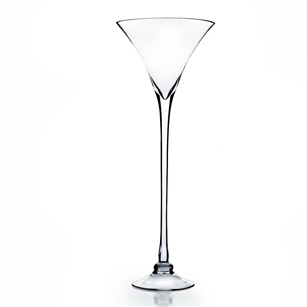 "Martini Glass Vase. Open: 8"". Height: 23"". Base: 6""."