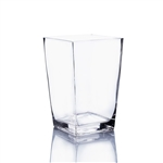 "Clear Taper Down Block Vase. Open: 5""x5"". Height: 8""."