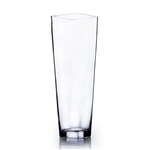 "Clear Taper Down Block Vase. Open: 6""x6"". Height: 20"""