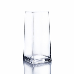 "Clear Taper Up Block Vase. Open: 3.5"". Height: 9""."