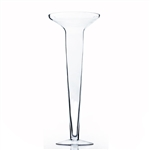 "Clear Flared SD Trumpet Vase. Open: 10"". Height: 25.5""."