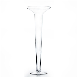 "Clear Flared SD Trumpet Vase. Open: 10"". Height: 30"". Tunnel Open 4"" Base: 8""."