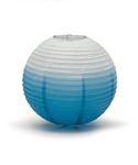 Ombre Colored Round Paper Lanterns (Pack of 24) - Oasis Blue, 12""
