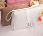 Crystal Buckle and Simple Bow Evening Bag (Bronze Satin)