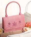 Pink Satin Seed Pearl Evening Bag