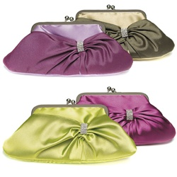 Convertible Satin Clutch Purse with Crystal Wrap (Sage & Thyme)