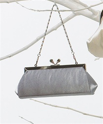 Satin Kiss Clasp Evening Bag (Platinum)