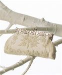 Beaded Flowers with Frame Clasp Evening Bag in Ivory