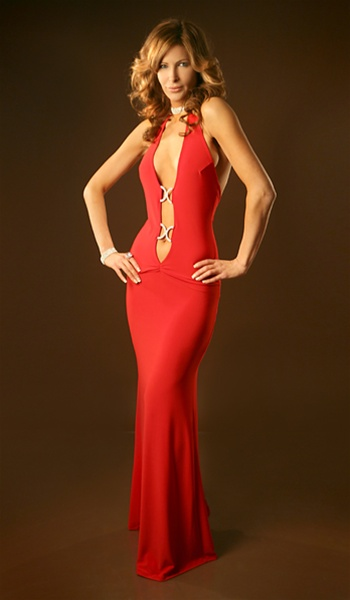 Seduction Sexy Plunging Halter Dress With Rhinestone Details