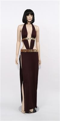 Alexandria - Sequin belt halter dress by Kamala Collection