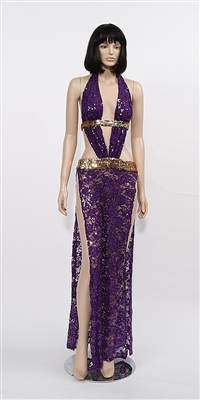 Alexandria - Sequin lace halter dress by Kamala Collection