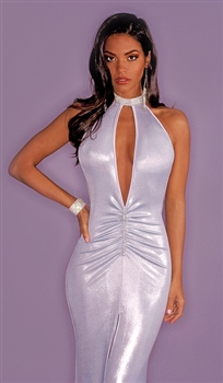 Crystal keyhole shiny prom dress by Kamala Collection