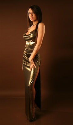Temple - Gold metallic cowl dress by Kamala Collection
