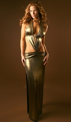 Envy - Metallic gold halter dress
