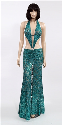 Marissa - Sequin lace halter dress by Kamala Collection