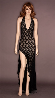 Flamenco - High slit lace ruffle dress by Kamala Collection Sexy Evening Gowns