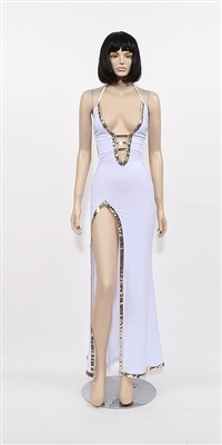 Monte Carlo - Sequin trim halter dress by Kamala Collection