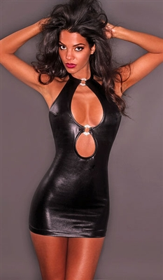 Raven - Faux leather party dress by Kamala Collection Clubwear
