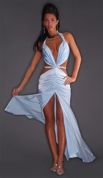 Pageant - Silk & rhinestone halter dress by Kamala Collection