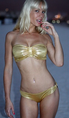 St Tropez gold bikini by Kamala Collection Swimwear