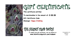 The Hermit Crab Patch Gift Certificate