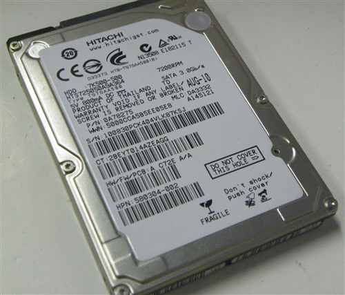 500GB Hitachi HTS725050A9A364 Laptop SATA Hard Drive P/N 0A78275 HP  580304-002