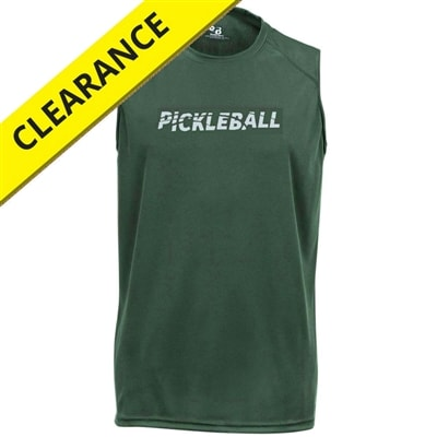 Sleeveless Challenger Tee for men with Pickleball logo. Sizes S-3XL, Royal Blue, Forest, Red