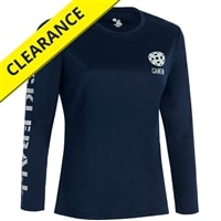 Volley Long Sleeve shirt for women in navy, red, forest, purple with silver or white logo, sizes XS-2XL