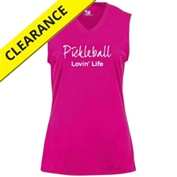 Sleeveless Court Shirt for women with Pickleball Lovin Life logo. Sizes XS-2XL, Electric Blue, Hot Pink, Hot Coral, Lime