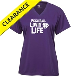 Hot Pink or Purple performance fabric shirt with Pickleball Lovin Life logo, sizes S-2XL