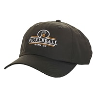 Performance Cap with embroidered pickleball logo, navy, gray or putty