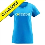 Contender Tee for Women. Sizes S-2XL, Black and Cobalt