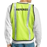 "Yellow mesh pickleball tournament referee vest with ""REFEREE"" printed across the center of the back in black, all capital letters."