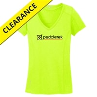 Performance fabric shirt for men, yellow with black and red lettering.  Available in sizes S-2XL