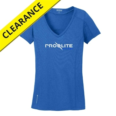 Performance fabric shirt for women, blue with silver lettering.  Available in sizes S-2XL