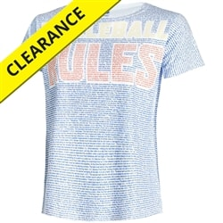 Pickleball Rules shirt for women displays the official rule book on the body of the shirt, sizes S-2XL