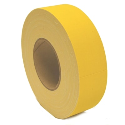 Durable cloth court tape for outdoor applications, two inch wide x 200 foot long. Choose from red or yellow.