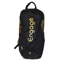 Black Pickleball Players Backpack from Engage features a slim design, but generous capacity, with your choice of gold or silver accents.